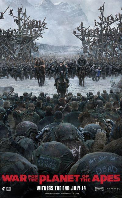 En El Planeta de los Simios: La Guerra, César y sus simios se ven forzados a luchar contra un ejército de humanos dirigidos por un despiadado Coronel.